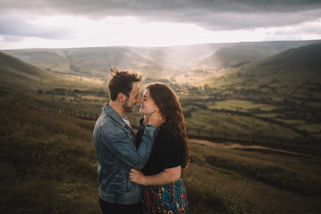 Peak District wedding photography couple session on mam tor