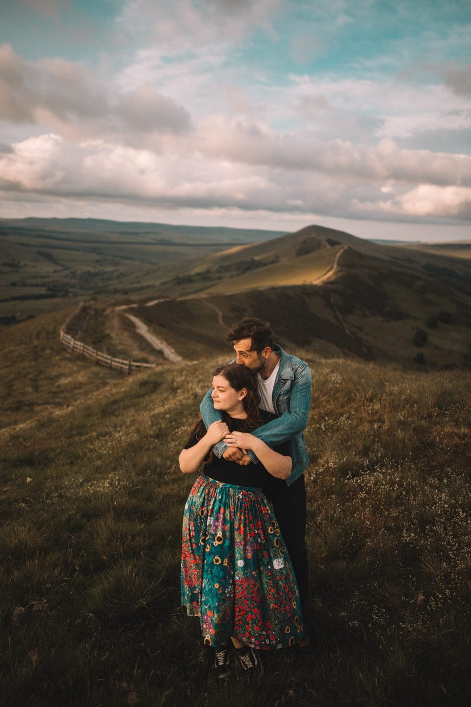 couple shoot on mam tor during their engagement session
